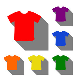 T-shirt sign set of red orange yellow green vector