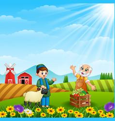 The muslim farmers talking about farm vector