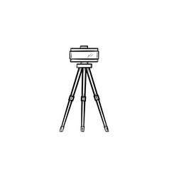 theodolite on tripod hand drawn sketch icon vector image