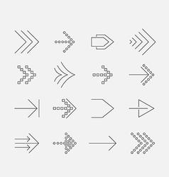 Thin arrow icon set vector