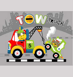 Tow truck cartoon with funny animals vector