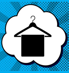 towel on hanger sign black icon in bubble vector image