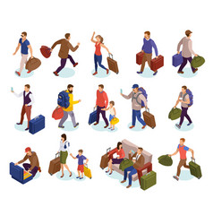 travel people isometric icons set vector image