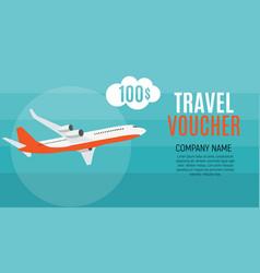 Travel voucher 100 dollar template background vector