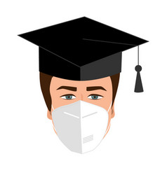 University graduate student in bonnet and medical vector