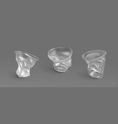 used plastic cups transparent disposable glasses vector image