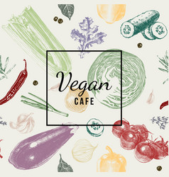 Vegan cafe logo over vegetable background vector