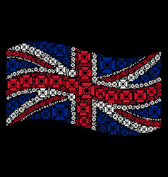 waving uk flag collage of searchlight icons vector image