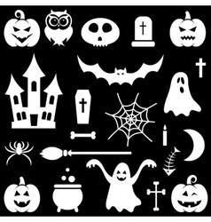 White Halloween icons set vector image