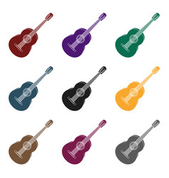 Yellow guitar hippy single icon in black style vector