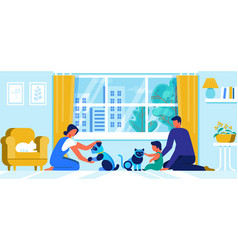 young family with little baplay with robot pets vector image