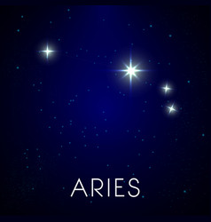 Zodiac stars constellation aries sign in night vector