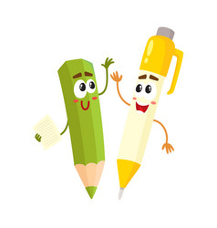 cute funny smiling pen and pencil characters vector image