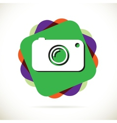 Hipster photo or camera icon with long shadow vector image