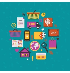 Internet shopping icons set vector image vector image