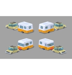 Low poly beige sedan with orange-white motor home vector image vector image