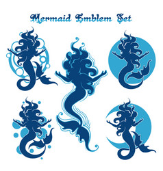 mermaid emblem set vector image