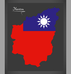 nantou taiwan map with taiwanese national flag vector image vector image
