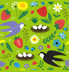 seamless pattern with bird and nest vector image vector image