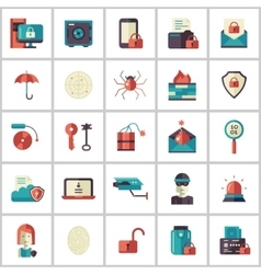 Security protection modern flat design icons and vector image vector image