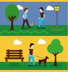 set of banner with scene the people in park vector image