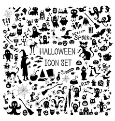 Set of cute silhouettes for Halloween vector image