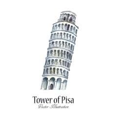 Watercolor tower of Pisa vector image
