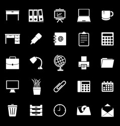 workspace icons on black background vector image vector image