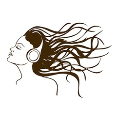 Portrait of girl listening to music vector image vector image