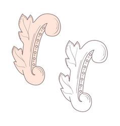 vintage baroque frame scroll ornament border vector image