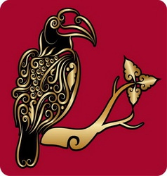 Golden bird ornament 2 vector image