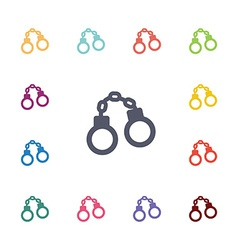 handcuff flat icons set vector image