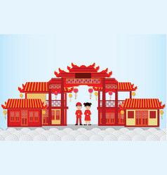 happy new year in china town with chinese boy and vector image