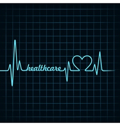 heartbeat make a healthcare text and heart symbol vector image vector image