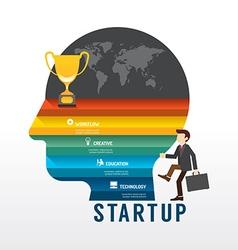 Startup business design concept step on head shape vector