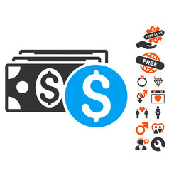 dollar cash icon with valentine bonus vector image vector image