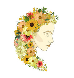 floral female portrait of young beautiful woman vector image vector image