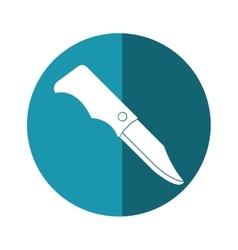 hunting knife tool equipment camping blue circle vector image