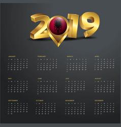 2019 calendar template albania country map golden vector