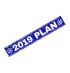 2019 plan grunge rectangle stamp seal with vector image