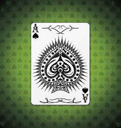 Ace spades poker cards green background vector