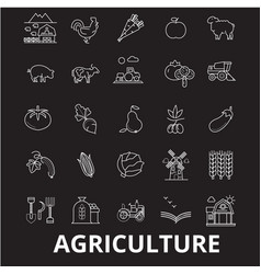 agriculture editable line icons set on vector image