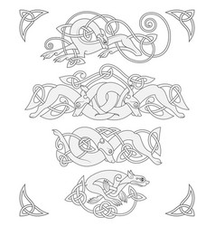 Ancient celtic mythological symbol of wolf vector