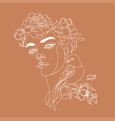 art line flower head minimalist woman print vector image