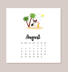 august dog 2018 year calendar vector image