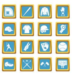 Baseball icons azure vector