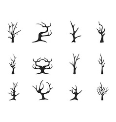 Black dead tree icons vector