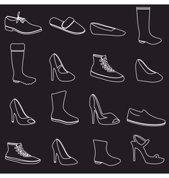 boots and shoes white outline icons set eps10 vector image