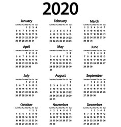 Calendar for year 2020 on white vector