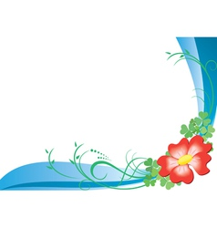 Card with red flower vector